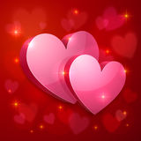 Realistic glossy hearts Valentines greeting card Royalty Free Stock Photo