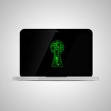 Realistic glossy laptop with matrix code in keyhole shape. Computer security concept. Royalty Free Stock Image