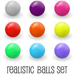 Realistic Glossy Spheres or Button Set. Realistic Colorful Glossy Spheres or Button Set Modern Web Design Element for Business. Vector illustration. Isolated on Royalty Free Stock Image