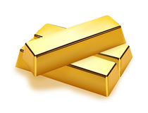 Realistic gold bars. On white background Royalty Free Stock Photo