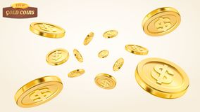 Realistic gold coin explosion or splash on white background. Rain of golden coins. Falling or flying money. Bingo Stock Photography