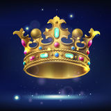 Realistic gold crown with precious stones. On a dark luminous background, vector illustration Royalty Free Stock Photo