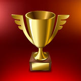 Realistic Gold cup for first place On a red background. Vector illustration Royalty Free Stock Images