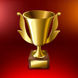 Realistic Gold cup for first place On a red background. Vector illustration Royalty Free Stock Photo