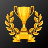 Realistic gold cup with laurel wreath. Illustration of award for sports or corporate competitions. Realistic gold cup with place for text. Illustration of award Royalty Free Stock Photo