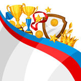 Realistic gold cup and other awards. Background with place for text for sports or corporate competitions Stock Photo