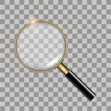 Realistic gold magnifier on transparent background.  Vector.  Stock Photography
