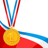 Realistic gold medal for first place. Background with place for text award for sports or corporate competitions Stock Photography