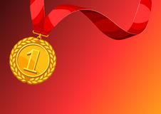 Realistic gold medal for first place. Background with place for text award for sports or corporate competitions Stock Photo