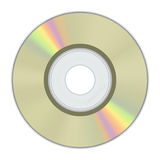 Realistic gold Mini CD Disk with rainbow color Stock Photo