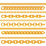 Realistic gold necklace chains vector brushes set Royalty Free Stock Images