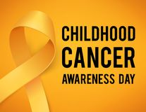 Childhood cancer day. Realistic gold ribbon, childhood cancer awareness symbol, vector illustration Royalty Free Stock Photos