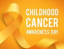 Childhood cancer day. Realistic gold ribbon, childhood cancer awareness symbol, vector illustration Stock Image