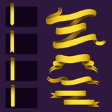 Realistic gold ribbons tape flag banner elegance graphic stitch band banner flag bow vector illustration. Stock Image