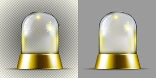 Realistic gold transparent snow ball royalty free illustration