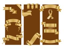 Golden ribbon tape banner flag cards bow classic glossy scroll vector illustration. Realistic gold vector ribbons tape flag cards banner with stitch detailing Stock Images