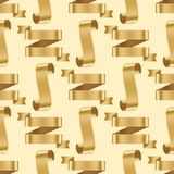 Golden ribbon tape banner flag bow classic glossy scroll seamless pattern background vector illustration. Realistic gold vector ribbons tape flag seamless Stock Images