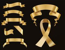Golden ribbon tape banner flag bow classic glossy scroll vector illustration. Realistic gold vector ribbons tape flag set banner with stitch detailing for your Royalty Free Stock Images