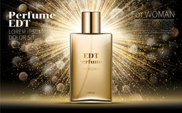 Realistic Gold Woman parfume bottle mockup on dazzling background.. Golden bokeh. Contained in Square Glass Mock up. Excellent Advertising. Cosmetic Design Stock Image