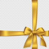 Realistic golden bow and ribbon. Element for decoration gifts, greetings, holidays. Vector illustration Stock Images