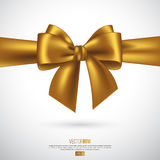 Realistic golden bow and ribbon. Element for decoration gifts, greetings, holidays. Vector illustration Royalty Free Stock Image