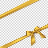 Realistic golden bow and ribbon. Element for decoration gifts, greetings, holidays. Vector illustration Stock Photos