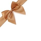 Realistic golden bow and ribbon isolated on white. Background. Vector illustration Stock Image