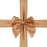 Realistic golden bow and ribbon isolated on white Royalty Free Stock Photos