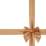 Realistic golden bow and ribbon isolated on white. Background. Vector illustration Royalty Free Stock Photo