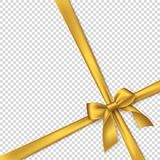 Realistic golden bow and ribbon. Element for decoration gifts, greetings, holidays. Vector illustration Royalty Free Stock Images