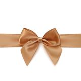 Realistic golden bow and ribbon  on white. Background. Vector illustration Stock Photo