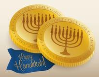 Realistic Golden Chocolate Gelts, Vector Illustration stock photo