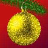 Realistic golden Christmas ball or bauble with glitter sparkles and fir branch on red background. Vector illustration. Vector realistic illustration golden Stock Images