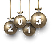 Realistic golden christmas balls with 2015. Stock Image
