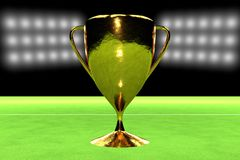 Realistic golden cup over grass field Royalty Free Stock Image