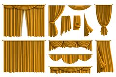 Free Realistic Golden Curtains. Luxury Fabric Silk Curtain For Theatre Or Window Decoration In Interior Isolated Vector Set Stock Image - 170558631