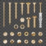 Realistic Golden Fasteners Transparent Set. Set of realistic metal golden fasteners isolated on transparent background vector illustration stock illustration
