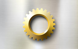 Realistic golden gear on a steel metal background Stock Photography
