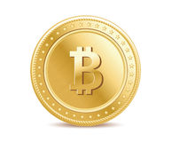 Realistic golden isolated bitcoin coin front view Royalty Free Stock Photo