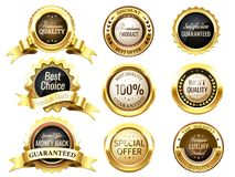 Realistic golden labels. Elegant best price banner, label with g. Old ribbons and prize tag. Premium labels dazzling medal or postal label 3d vector isolated stock illustration