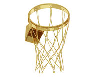A realistic golden rendering of a basketball hoop from below (se Royalty Free Stock Photography