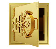 A realistic golden rendering of a big vault (open) Royalty Free Stock Image