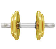 A realistic golden rendering of a dumb bell (series) Stock Photo