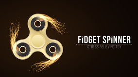 Realistic golden spinner in the fire. Fiery speed. Stress relieving toy. Modern toy for fingers. VIP spinner. Background for adver Stock Image