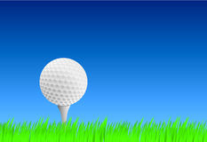 Realistic golf ball on tee. With blue sky and grass royalty free illustration