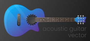 Realistic gradient acoustic guitar isolated on dark background. The most detailed. Vector, scalable and editable colour stock illustration