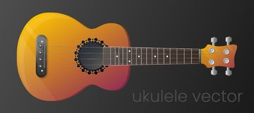 Realistic gradient ukulele guitar isolated on dark background. The most detailed. Vector, scalable and editable colour royalty free illustration