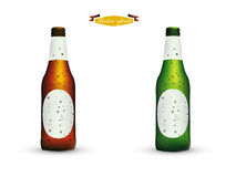 Realistic graphic design vector of bottle of beer with condensed water Stock Photography