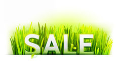 Realistic grass with sale offer Royalty Free Stock Photos