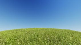 Realistic grassy hill on a background of pure blue sky 3D rendering.  Stock Photo